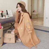 2017秋冬季新款韩版收腰刺绣毛呢外套女中长款修身灯笼袖呢子大衣风衣