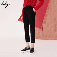 Lily2018秋新款女装商务通勤黑色显瘦九分裤直筒裤118100C5603