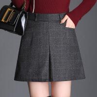 高腰微喇裤短裤加厚2017年冬季裤子纯色修身显瘦气质韩版简约时尚 格子