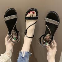 坡跟凉鞋女时尚新款夏季学生网红百搭厚底仙女风一字跟罗马高跟鞋