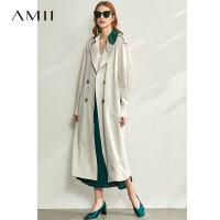【到手价:343元】Amii极简时尚撞色翻领宽松风衣女2020春季新款配腰带插肩袖长外套
