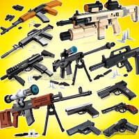 奥斯尼兼容乐高拼装积木军事手枪组装塑料模型拼插冲锋狙击枪玩具