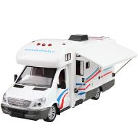儿童合金户外旅行房车模型玩具小汽车模型带声光回力可开门