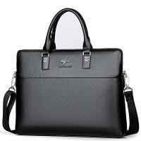 商务男包男士手提包真皮包包男土单肩背包中年公文手拎包挂包 黑色 送手包