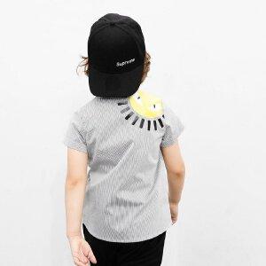 AMII男童衬衫2018夏季新款中大童薄款时尚休闲条纹翻领英伦风上衣