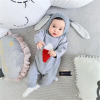 男婴儿连体衣服宝宝新生儿0岁2个月秋季1针织3冬装秋冬季毛衣睡衣