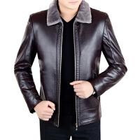 冬季新款中年男士真皮皮衣皮毛一体加绒休闲装绵羊皮夹克外套 酒红色 5/S(100-115斤)