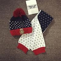 儿童帽子围巾两件套秋冬男女童保暖加绒毛线帽宝宝帽子护耳套头帽