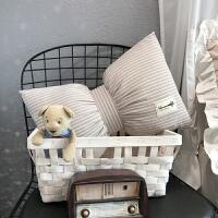 家纺韩式条纹纯手工全棉蝴蝶结抱枕车用靠枕沙发办公室腰枕靠垫可拆洗