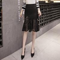 2018新款蕾丝镂空中长款黑色包臀鱼尾裙高腰显瘦半身裙一步裙 黑色