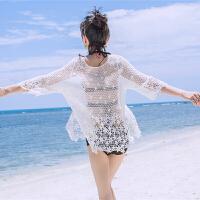 2018新款比基尼罩衫女夏短款性感镂空蕾丝防晒沙滩度假泳衣外套温泉外搭 白色 均码