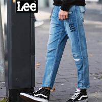 Lee男装 2018春夏新品破洞刺绣牛仔九分裤 L29869Z027GD