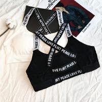 韩版美背字母吊带打底修身裹胸抹胸短款外穿露背瑜伽运动小背心女