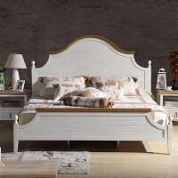 尚满 地中海实木框架1.8/1.5米单双人标准单床 仿古白卧室家具储物床套装组合 水曲柳色