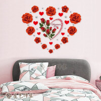 温馨浪漫婚房布置卧室房间装饰品玫瑰花墙贴纸客厅背景墙自粘贴画 特大
