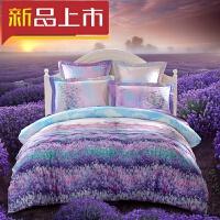 生活床品四件套1.8m床上用品田园风被套床单套件定制F 紫色 爱在普罗旺斯