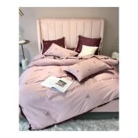 粉紫色纯棉60贡缎亲肤四件套雏菊花卉刺绣韩式公主风褶边全棉床品 雏菊四件套
