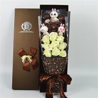 布朗熊可妮兔子卡通花束小熊娃娃玩偶礼盒玫瑰花生日礼物礼品