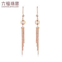 六福珠宝18K金耳环中国风流苏玫瑰金K金耳线耳钉耳饰定价L02TBKE0004R