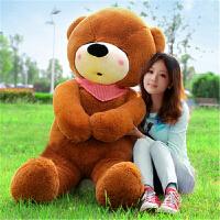 七夕礼物 抱抱熊抱枕泰迪公仔熊布娃娃毛绒女熊猫玩偶玩具熊送女友儿童礼物 深棕色瞌睡熊 2.5米送玫瑰花