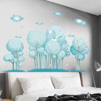 森林大树植物花草沙发背景墙贴画卧室房间装饰小白兔蝴蝶贴纸自粘 森林 大
