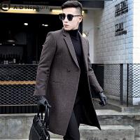 男士潮牌羊绒呢子毛呢大衣男中长款青年韩版修身冬季英伦风潮帅气 深灰色 48/M