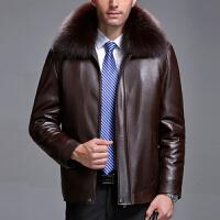 冬季海宁真皮皮衣男士中老年男装绵羊皮夹克狐狸领加厚外套爸爸装