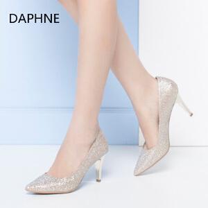 Daphne/达芙妮正品女鞋 秋季尖头细跟浅口水钻高跟婚鞋单鞋女