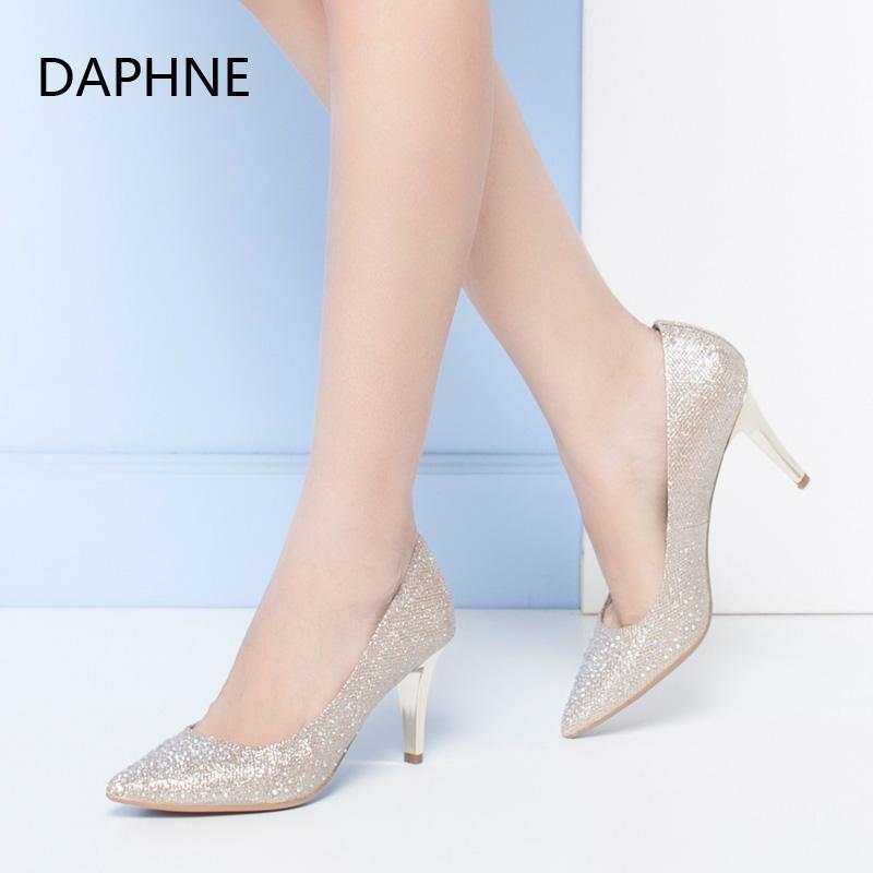 Daphne/达芙妮正品女鞋 秋季尖头细跟浅口水钻高跟婚鞋单鞋女年末清仓,售罄不补货!