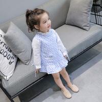 2018春装新款童装韩版女宝宝长袖连衣裙女童时尚袖口系带格子裙潮