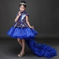女童公主裙儿童演出服蓬蓬裙韩版冬 模特走秀表演服拖尾主持人礼服