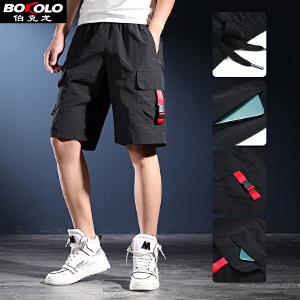 2件9折 3件8折 男士休闲短裤纯棉麻料五分中裤修身直筒款男装大短裤子T2015