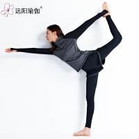 春夏新品紧身运动跑步套装训练健身服女 CD1089Y2-7108 深麻灰配黑色套装