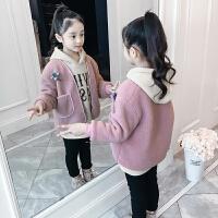儿童套装秋冬季2018新款绒厚款外套女孩卫衣两件套