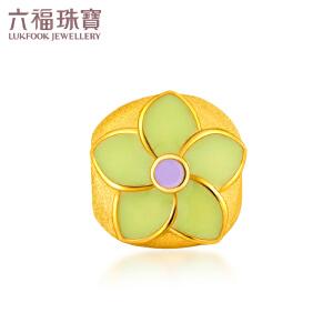六福珠宝素馨花黄金转运珠DIY珐琅足金串珠   HXG70207