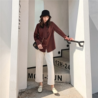 七格格港风衬衫女宽松韩版2019新款冬季时尚洋气长袖百搭外穿上衣
