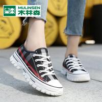 木林森2020年春季新款女鞋运动休闲率性厚底低帮老爹帆布鞋学生百搭板鞋
