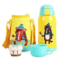 【当当自营】杯具熊(BEDDYBEAR) 儿童保温杯带吸管儿童水杯不锈钢宝宝儿童保温壶学生水杯630ml 黄色小马