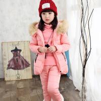 2017新款冬装韩版中大童套装女童棉衣三件套休闲加厚儿童卫衣