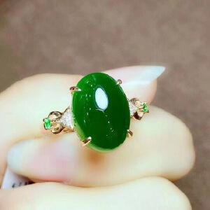 天然和田碧玉戒指,天然碧玉,冰透水润,无杂无裂,