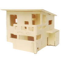儿童拼装玩具木质拼图立体3d模型男女孩积木制飞机房子拼插 乳白色 和风宅