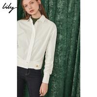 【不打烊价:239元】 Lily2019秋新款女装抽绳袖设计白色短款修身含棉衬衫119330C4217