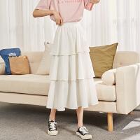 【1折价59元】唐狮春夏新款半身裙女雪纺蛋糕裙高腰a字裙中长款仙A