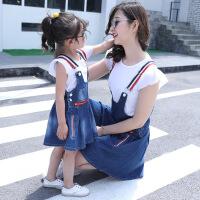 女童背带裙夏款2018新款韩版潮母女牛仔背带套装两件套时尚亲子装 红拉链背带裙