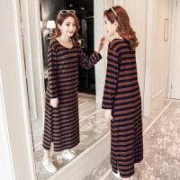 2018春新款韩版时尚条纹中长款大码女装连衣裙 咖啡色