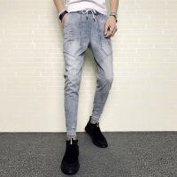 男士新款破洞九分牛仔裤韩版潮流社会精神小伙修身小脚弹力束脚裤