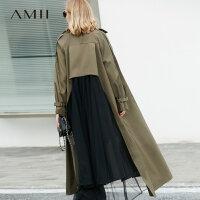 Amii极简ins复古原宿学生港味心机上衣设计感韩版风衣长款外套女