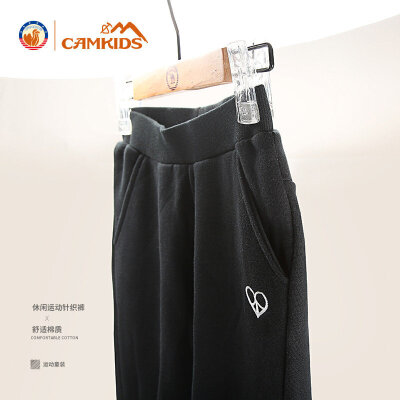 CAMKIDS女童针织裤长裤2018新款春秋季装儿童中大童运动裤子