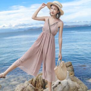 RANJU 然聚2018女装夏季新品新款时尚套高腰九分阔腿雪纺吊带连体裤女