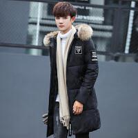 潮牌男士冬季外套加厚青年棉衣男中长款韩版修身男款大毛领潮